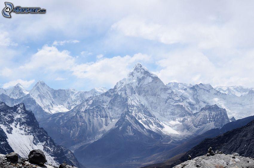 zasnežené hory, skalnaté hory