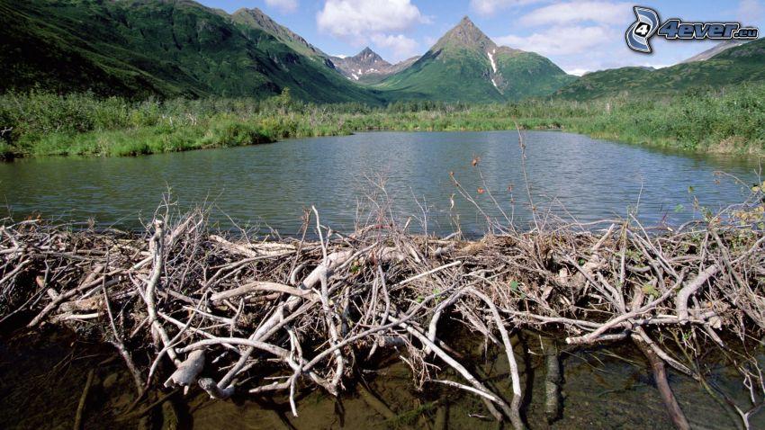 hrádza, jazero, kopec