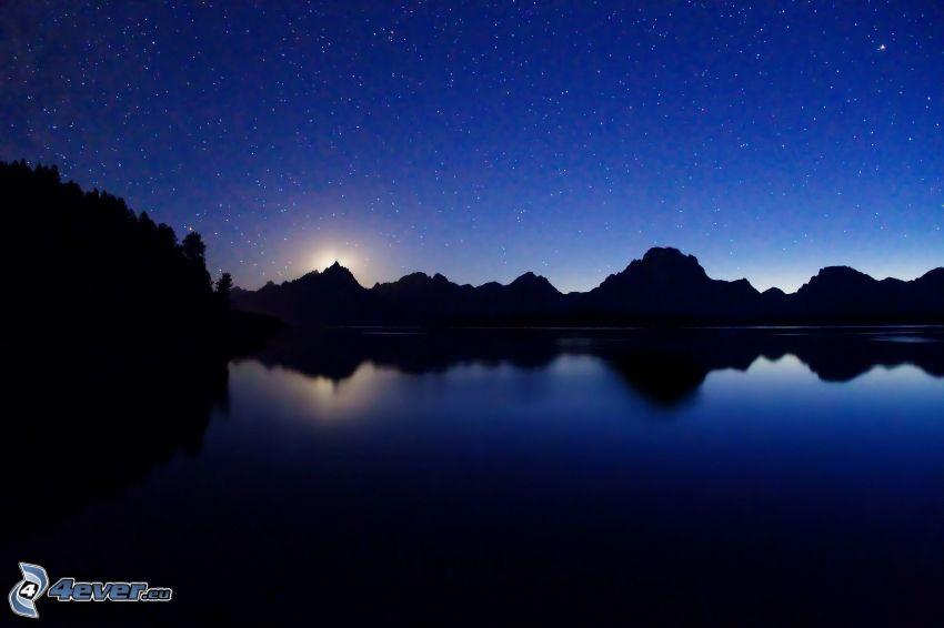 jazero, pohorie, hviezdna obloha