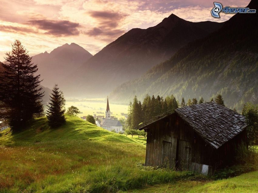 chatrč, chatka, príroda, jeseň, kostol, dedinka, krajina