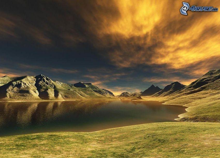 digitálna krajina, jazero, oblaky