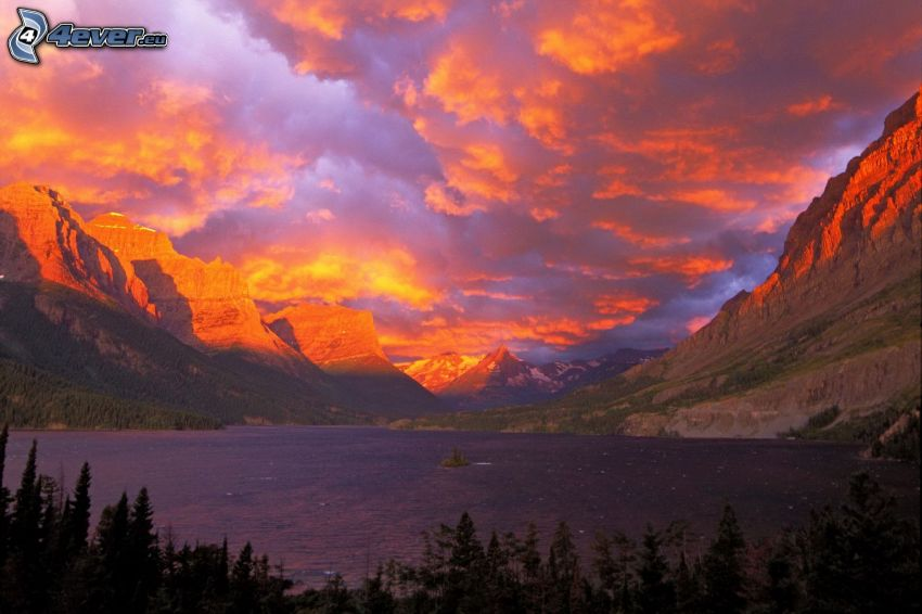 Glacier National Park, jazero, hory, ružová obloha