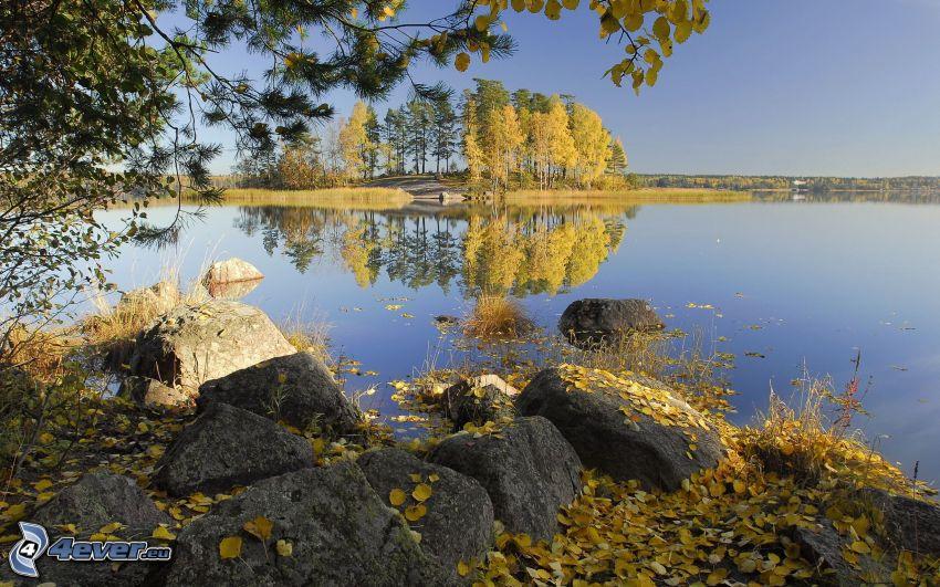 jazero, žlté lístie, farebné stromy, jeseň
