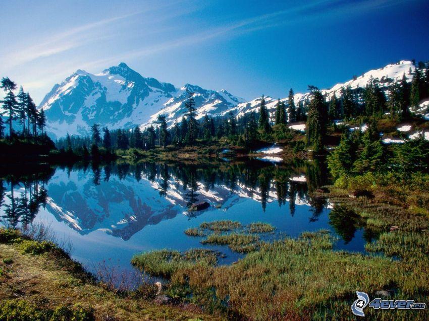 národný park North Cascades, USA, zasnežená hora nad jazerom, pleso, ihličnaté stromy