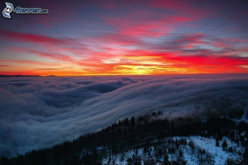 oblaky, príroda, večerné zore, obloha
