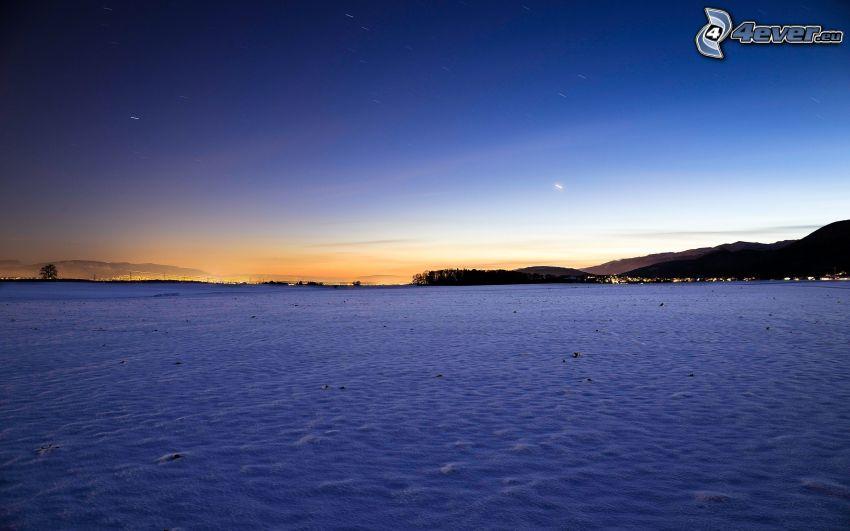 po západe slnka, sneh, večer, Švajčiarsko