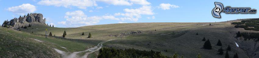 pohorie, lúka, poľná cesta