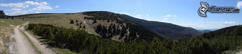 pohorie, údolie, poľná cesta, panoráma