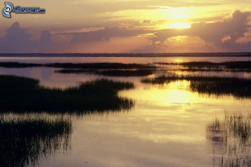 večerné pokojné jazero, západ slnka
