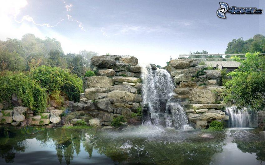 vodopády, jazierko, kamene