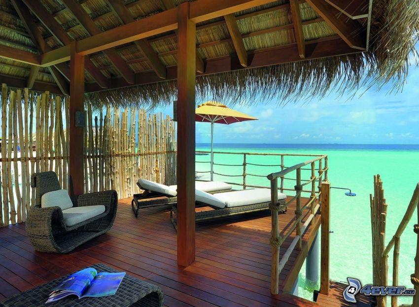 Maldivy, terasa, lehátka, azúrové more