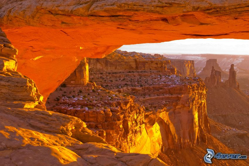 Mesa Arch, odraz slnka