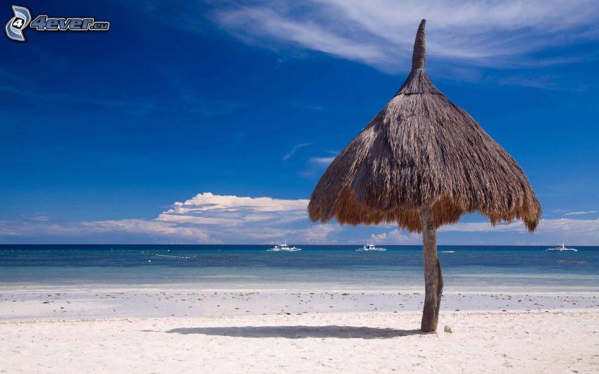 altánok, piesočná pláž, more