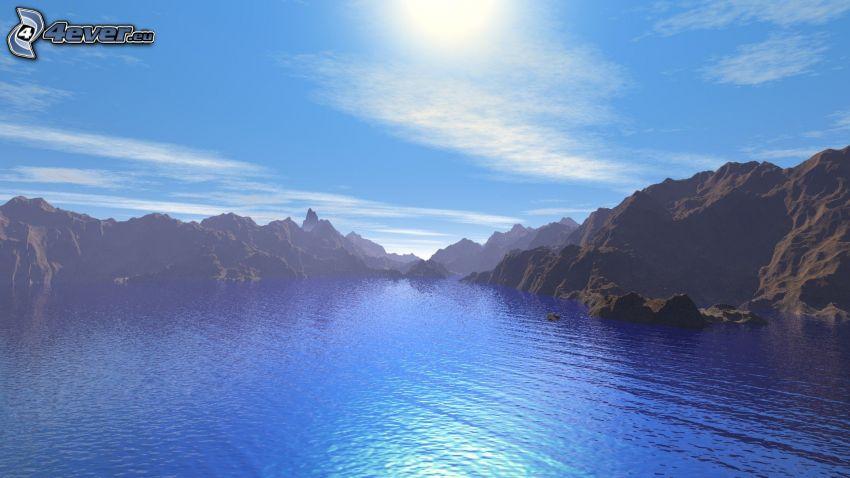 Island, záliv, hory