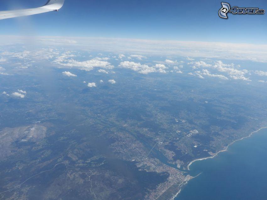 letecký pohľad, výhľad na krajinu, more