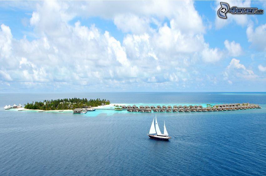ostrov, plachetnica, more, domčeky