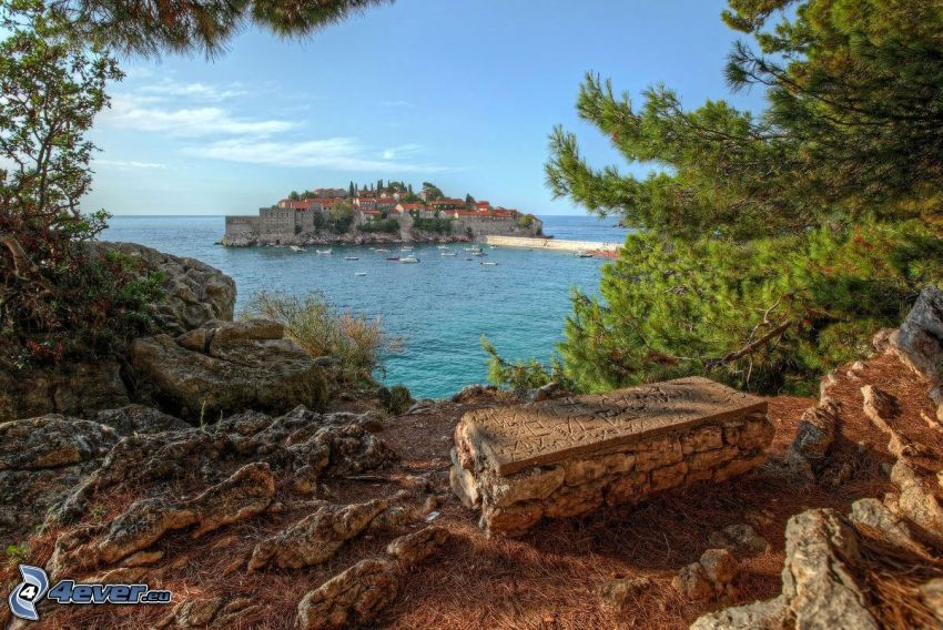 ostrovček, domy, more, kamene, HDR