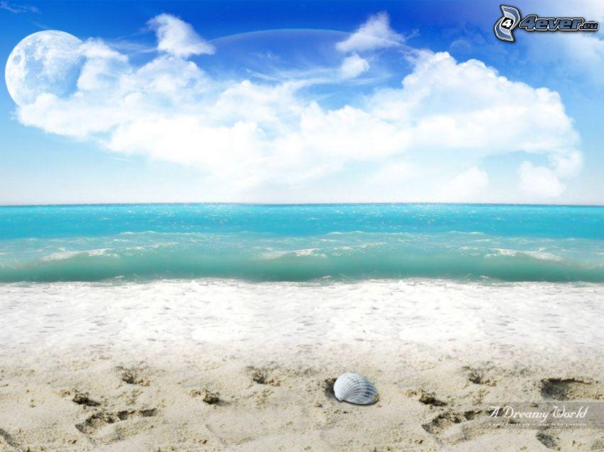 pláž, more, obloha, oblaky, planéta, mesiac, mušľa
