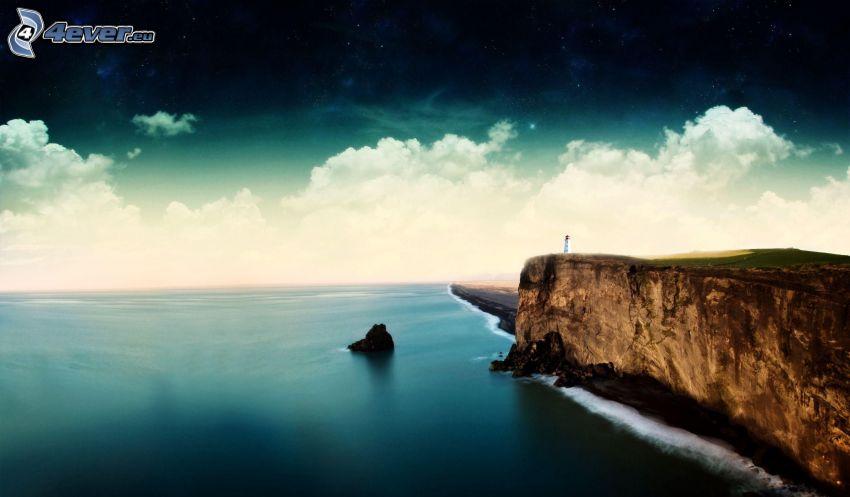 pobrežné útesy, skala v mori, oblaky, hviezdy