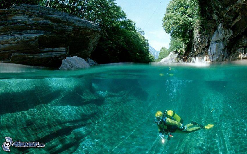 potápač, záliv