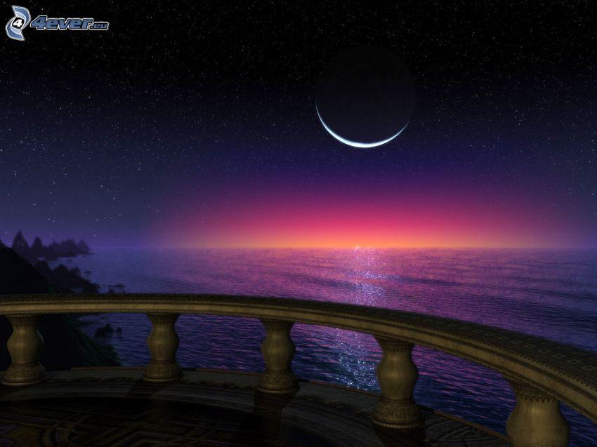 šíre more, mesiac, balkón, výhľad na more