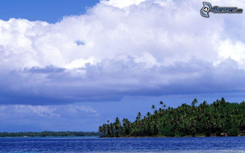 Tahiti, palmový ostrov, oblaky, more