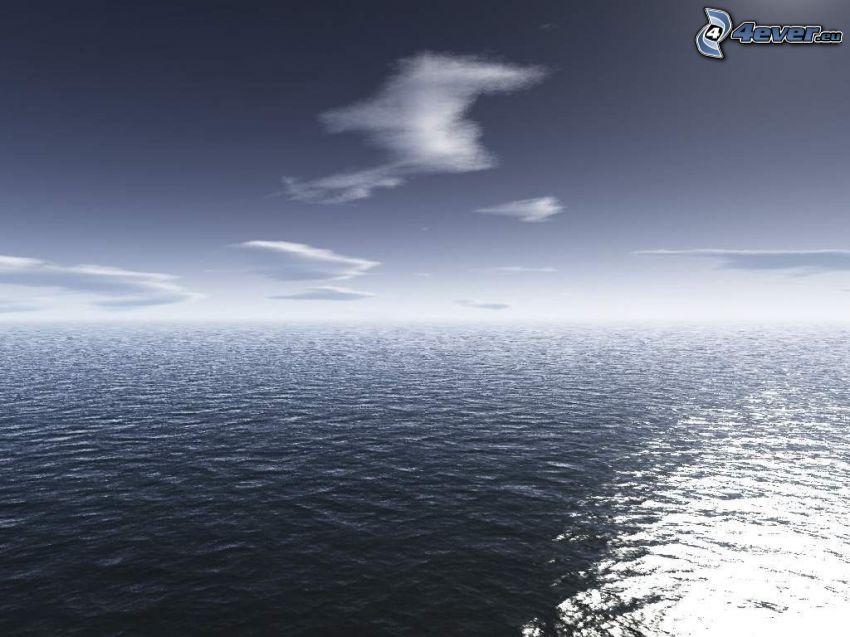 tmavé more, oblaky
