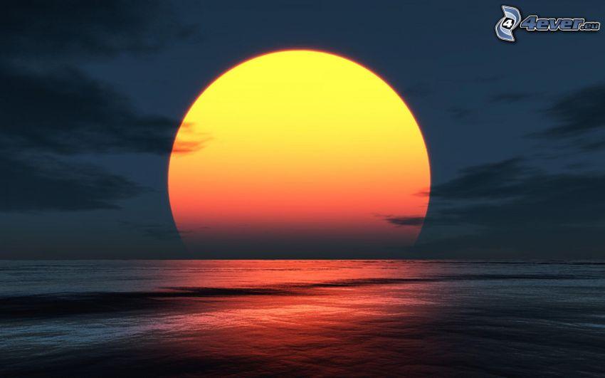 západ slnka za morom, tmavá obloha, šíre more
