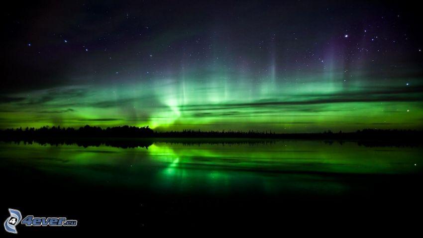 nočná obloha, polárna žiara, horizont