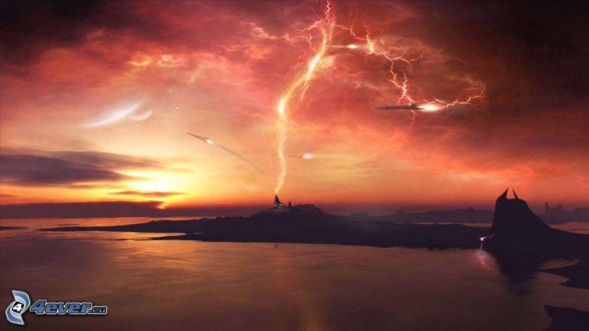 blesky, polostrov, oranžové oblaky, večer