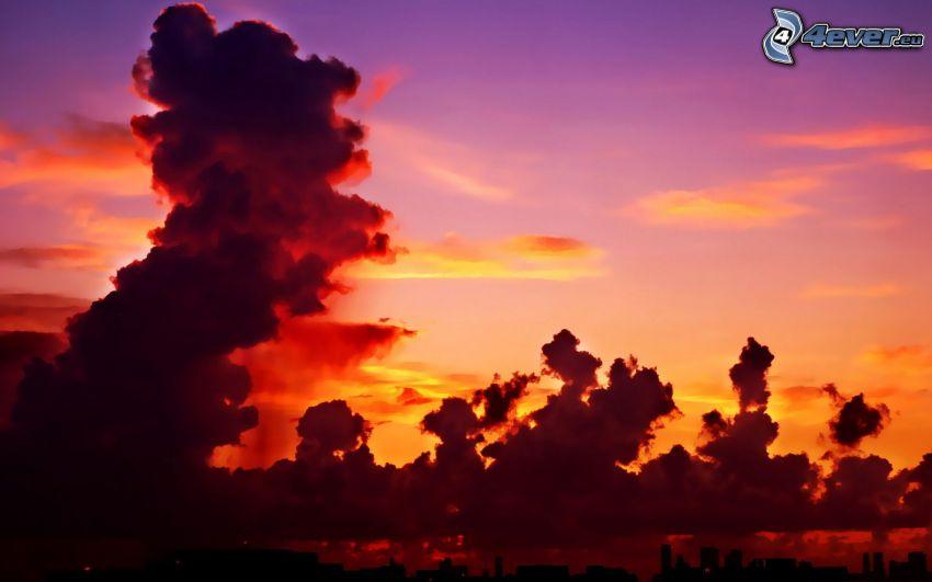 dym, oranžový západ slnka