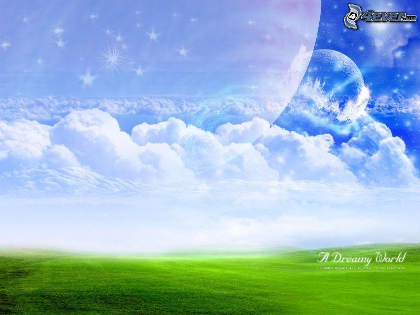 lúka, oblaky, nebo, mesiac