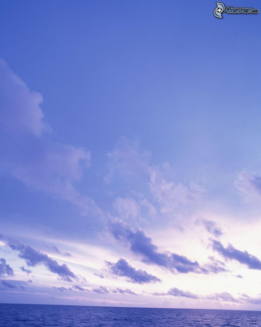 modrá obloha, jasné nebo, oblaky, more, oceán