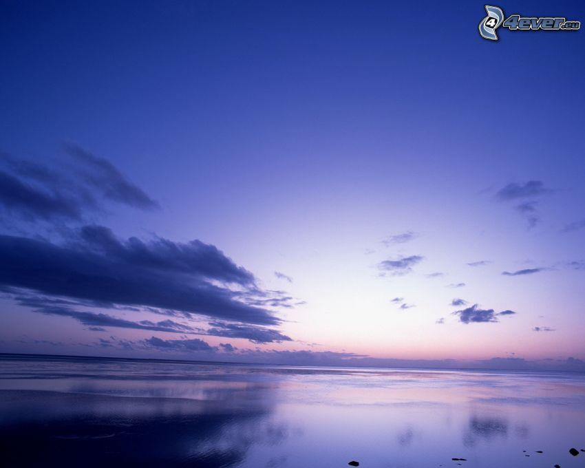 modrá obloha, oblaky, more, oceán, pokojná vodná hladina