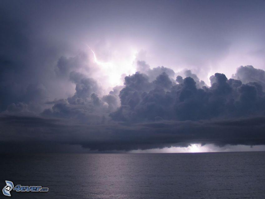 more, oblak, blesk