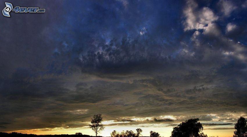 mraky, večer