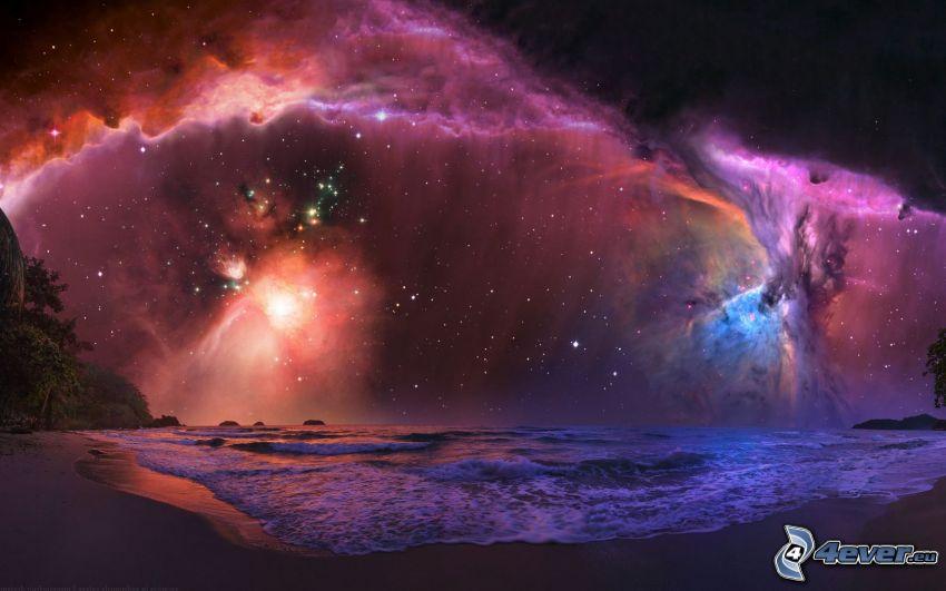 nočná obloha, galaxie, hviezdy, pobrežie v noci, more