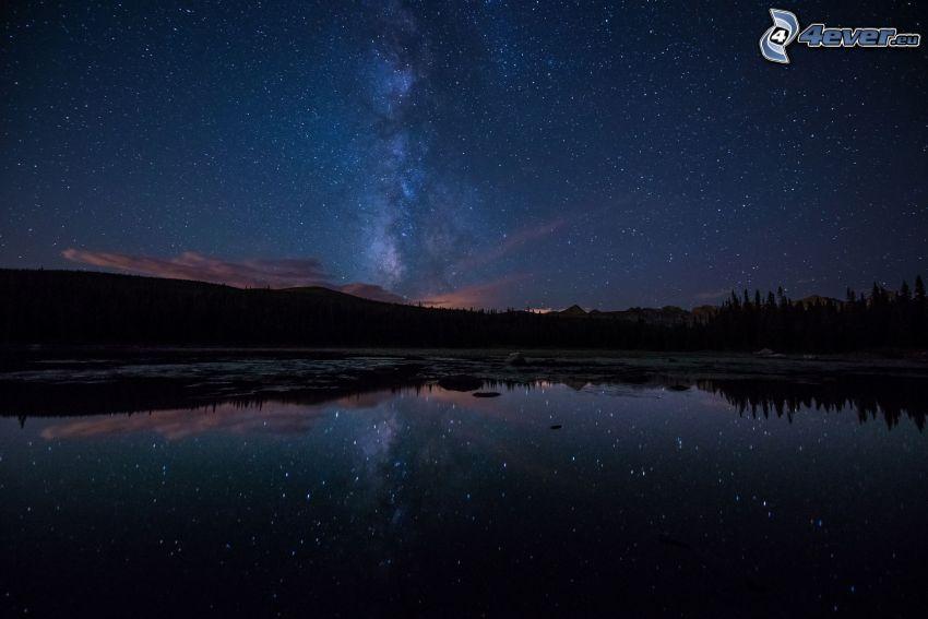 nočná obloha, jazero