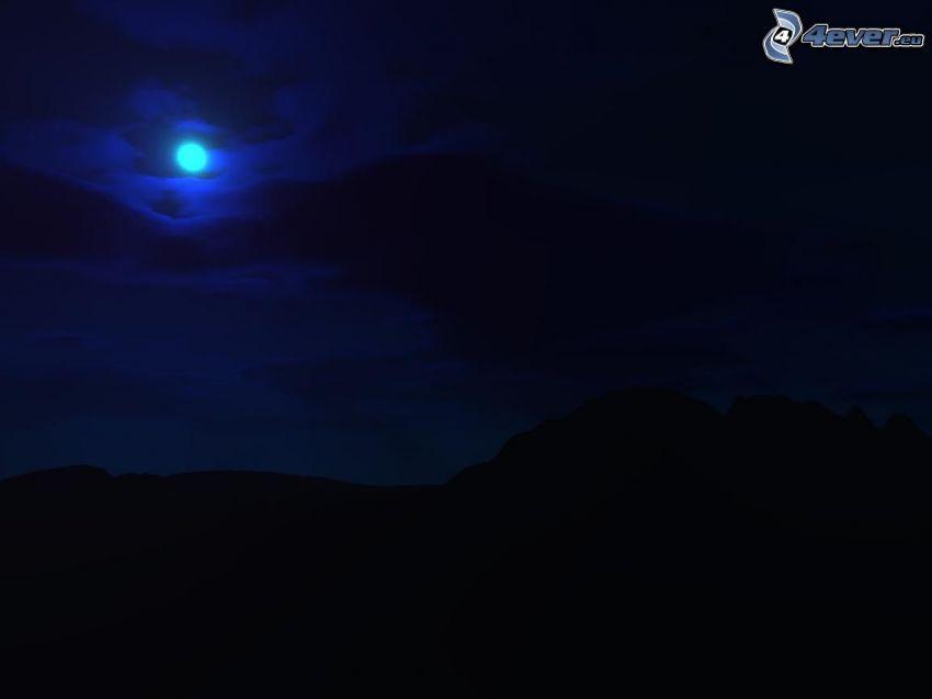 nočná obloha, kopce, siluety
