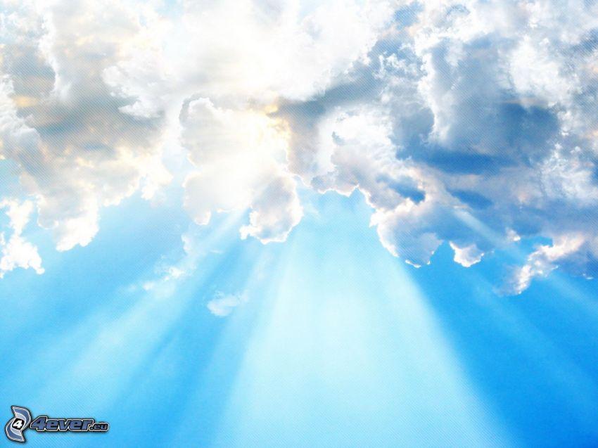 oblaky, slnečné lúče
