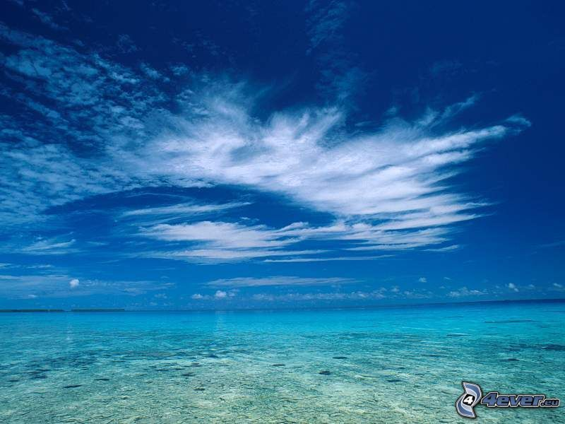 obloha, more, oblaky