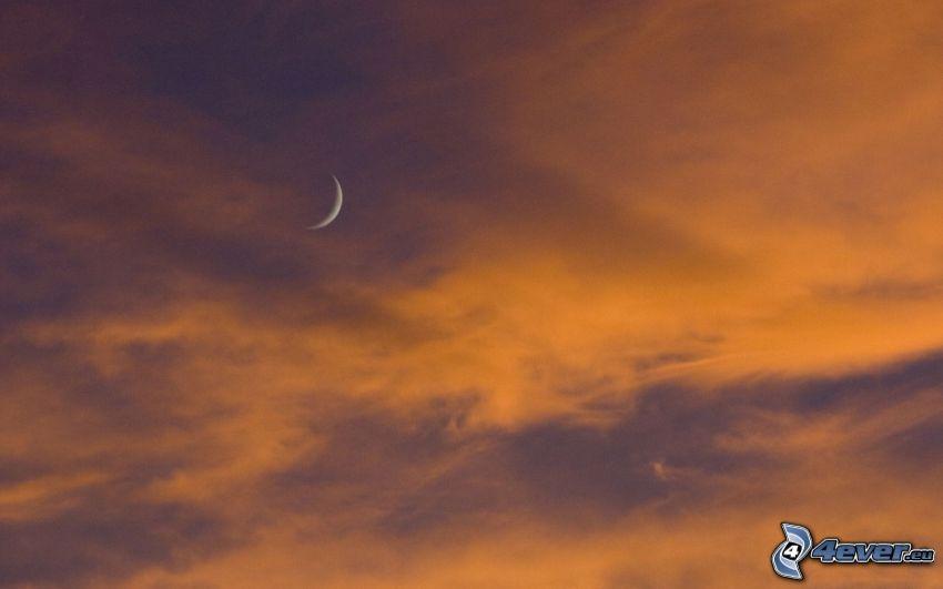 oranžová obloha, mesiac