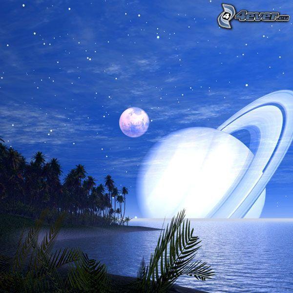 Saturn, planéta, mesiac, vesmír, more, pobrežie, sci-fi