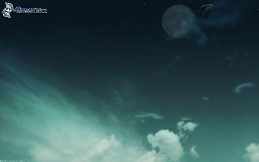 večerná obloha, hviezdy, mesiac, satelit