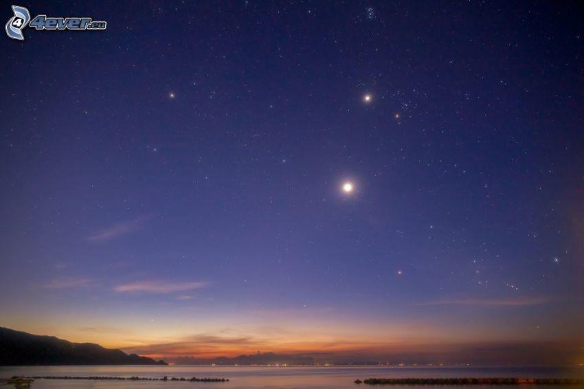 večerná obloha, jazero