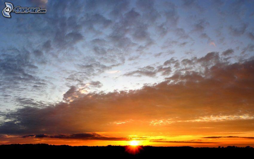 západ slnka, mraky