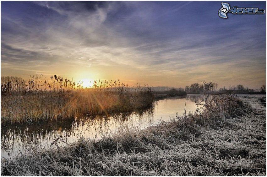 potok, zamrznutá tráva, západ slnka