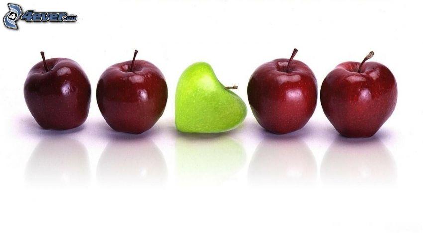 jablká, červené jablká, zelené jablko