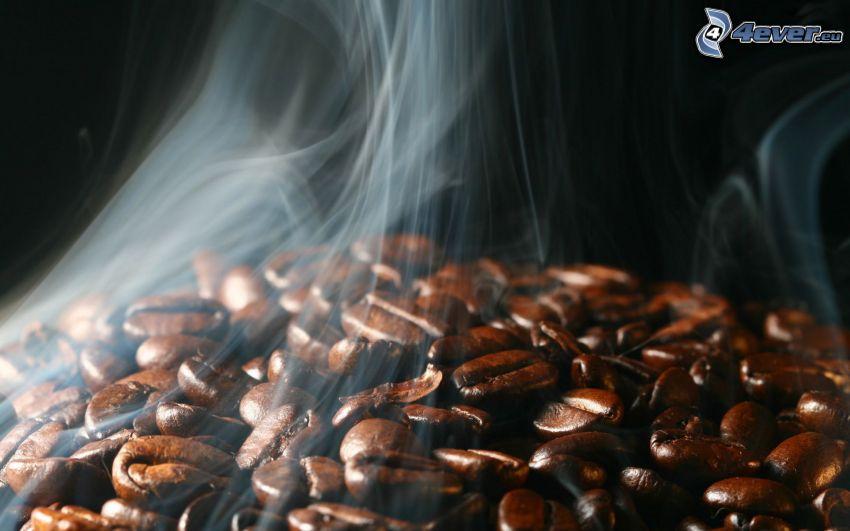 kávové zrná, dym