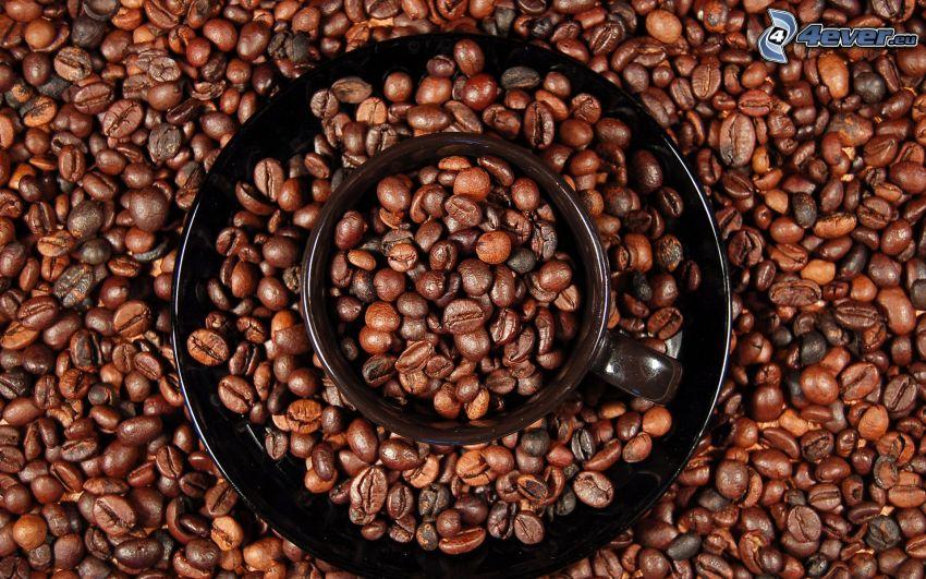 kávové zrná, hrnček